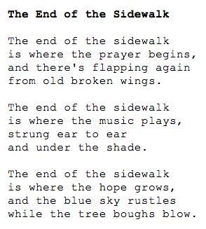 end of the sidewalk poem