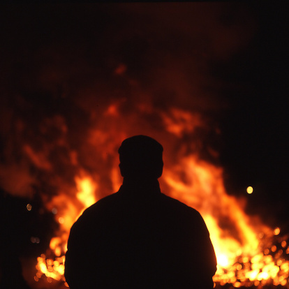 fire man silhouette